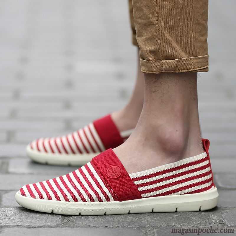 chaussures de sport a45b5 a6dd2 Achat Mocassins Homme Toile Homme Bande Rayé Été Tendance Casual Jeunesse  Tout Noir Vente