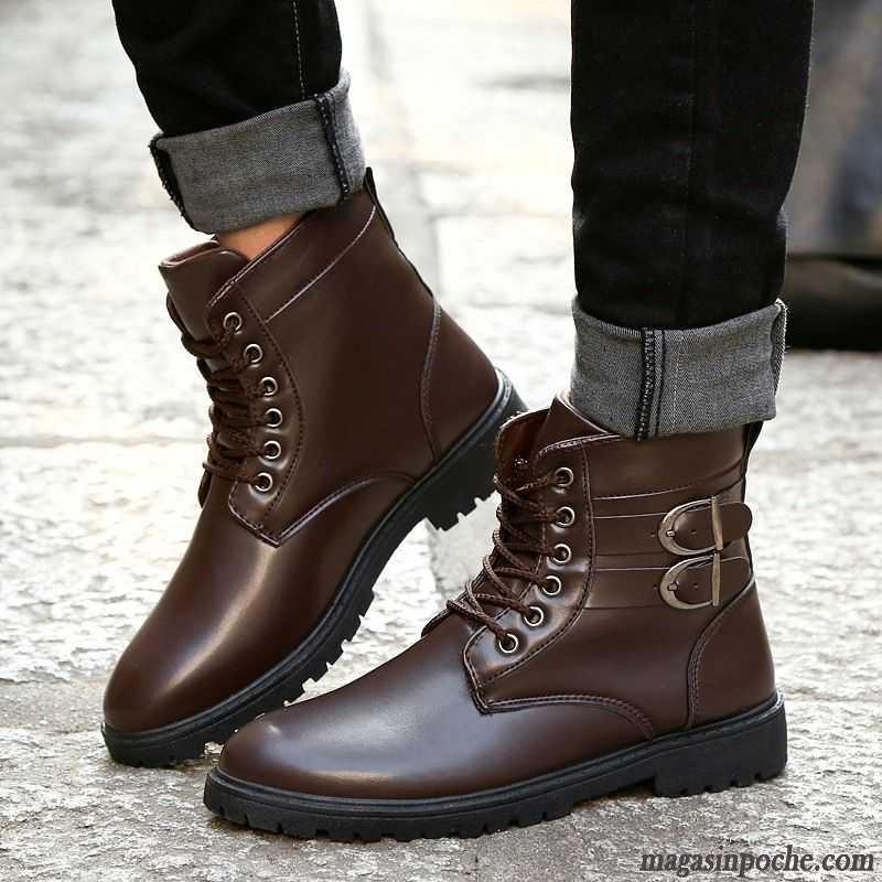 L En 7gbyyf6v Bottes Hautes Coton Tendance Homme Chaussures Cuir doCxBe