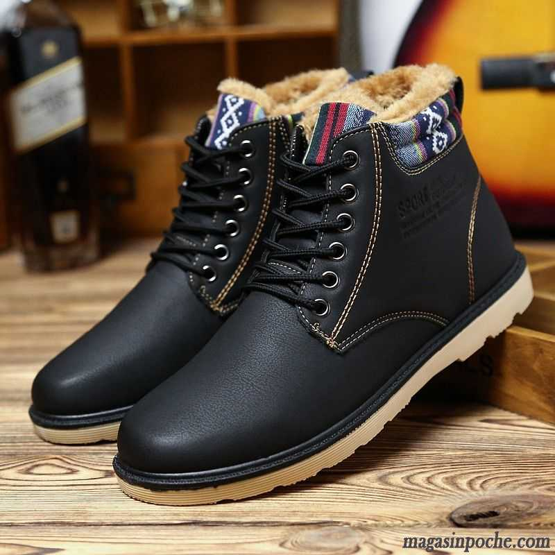 bottes montante cuir homme chaussures en coton casual thermiques plus de velours imperm able. Black Bedroom Furniture Sets. Home Design Ideas