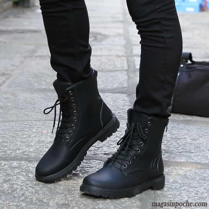 Bottines Cuir Homme Pas Cher Tendance Hautes Hiver Homme Angleterre Chaussures De Travail L'automne Gris
