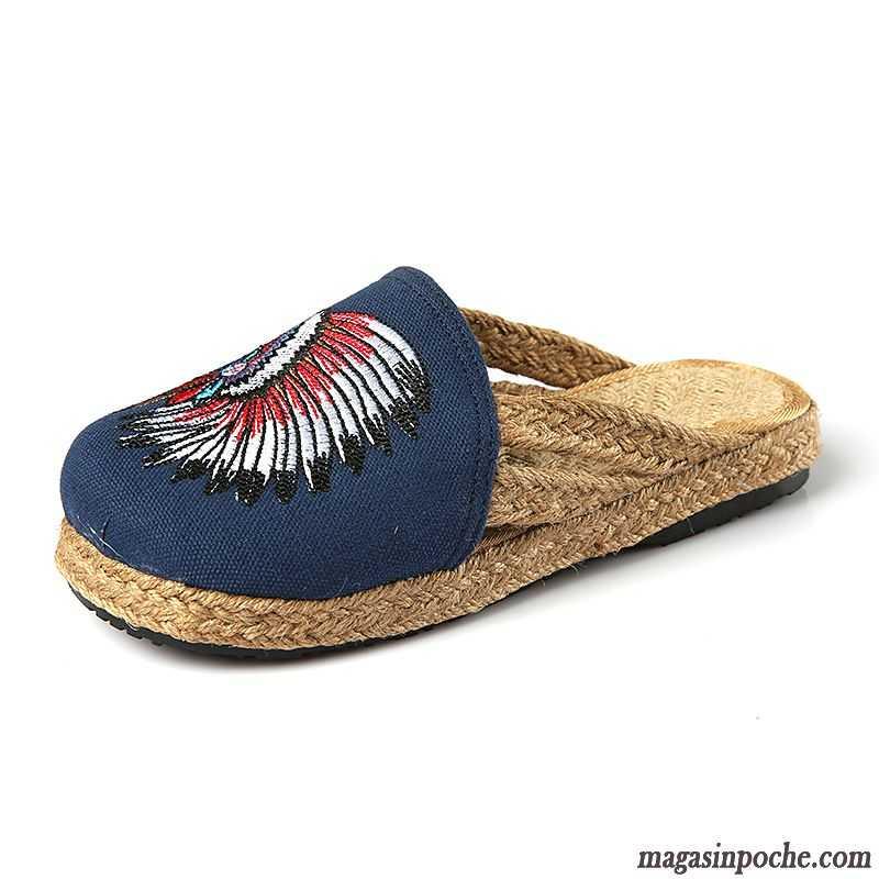 Chaussures National Fantaisie Femme Semelle En Brodé Style Chaussons Tissu Doux Corail tsChQrdx