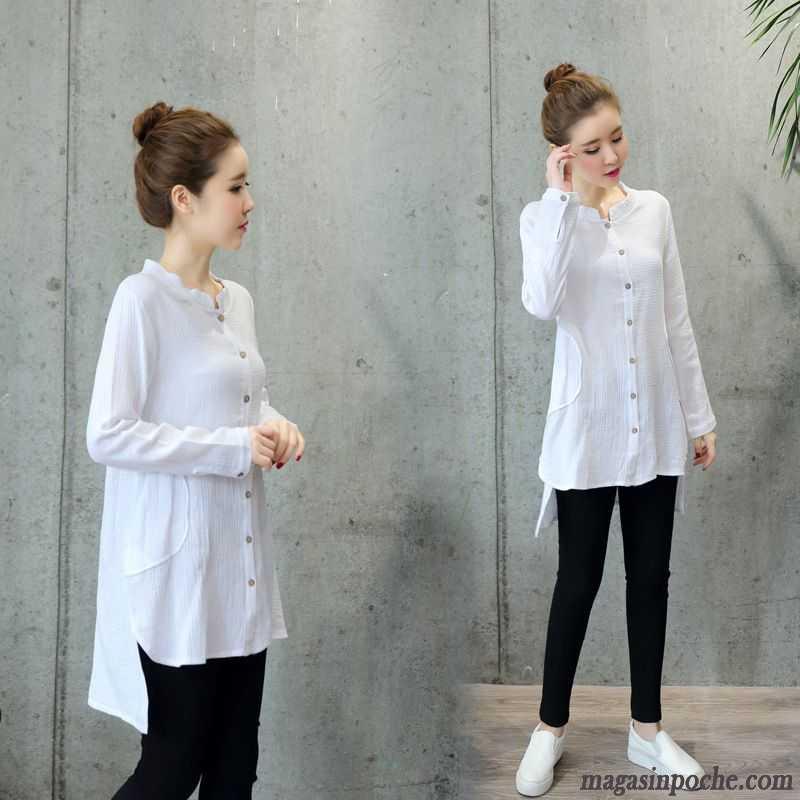 chemise blanc longue femme femme sexy chemisier longue lache en v col coul blanc vente chemise ch. Black Bedroom Furniture Sets. Home Design Ideas