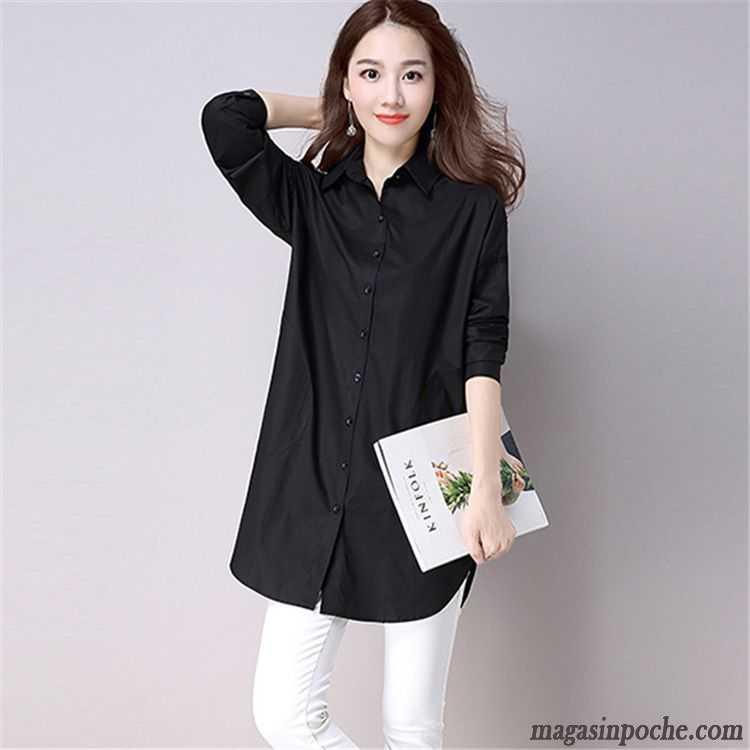 62ab4191daf59f Chemise Noir Pour Femme Blanc Longue Pure Chemise Manches Longues Baggy  L'automne Femme Mode Bien ...