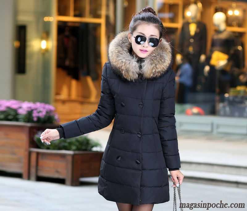 e84ca61b47ab1 Doudoune Longue Femme Avec Capuche Fourrure Femme Renforcé Hiver Longue  Style Chaud Vêtements Coton Vêtements De ...