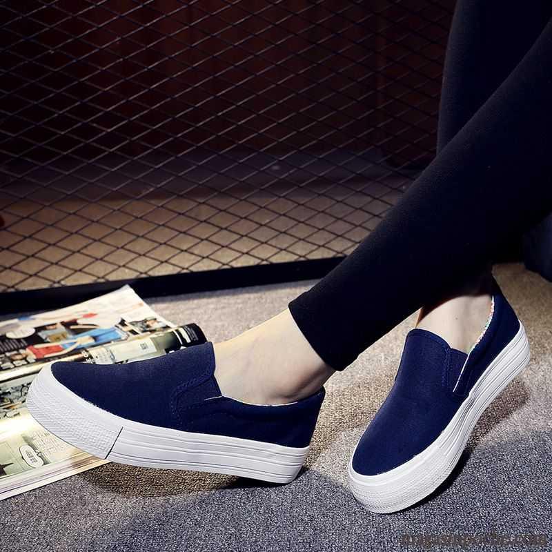 Chaussures On Tissu Semelle Chaussure Flats Femme Toile Casual Épaisse Slip Entretien En Élève Été L'automne Blanc Paresseux Mocassins Cuir Rose rxBoCed