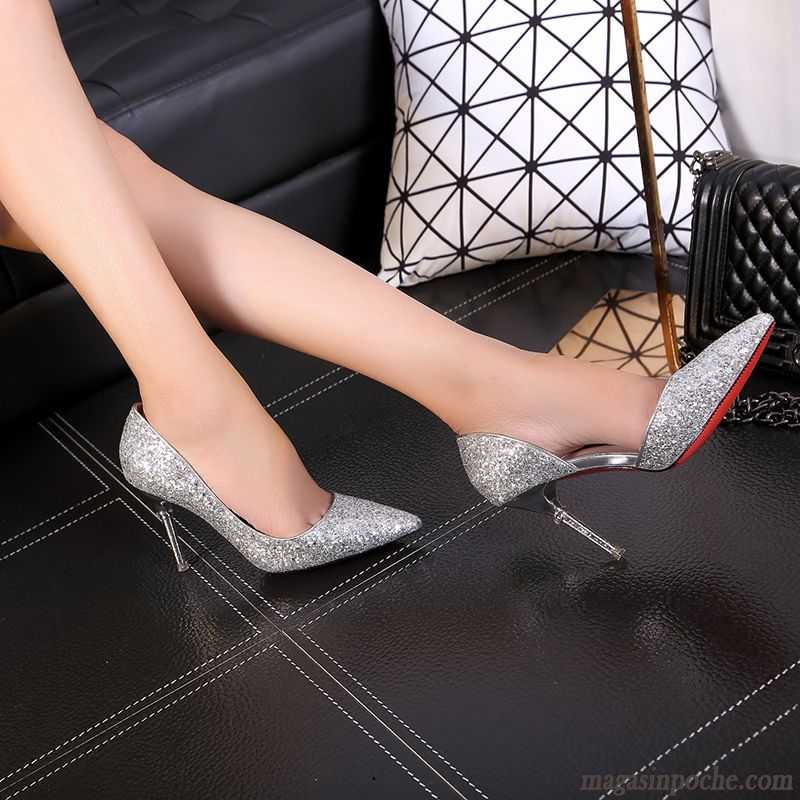 escarpin talon large l 39 automne paillette argent chaussures de mariage femme pointe pointue. Black Bedroom Furniture Sets. Home Design Ideas