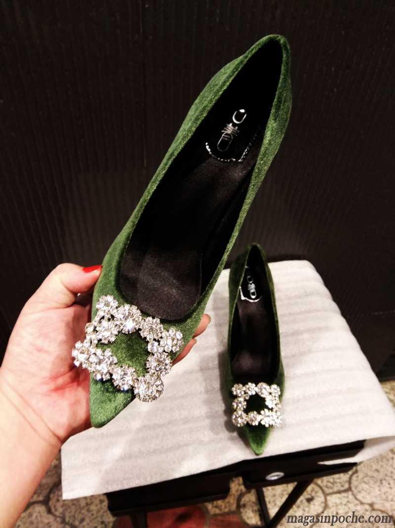 e84937a35494fc Escarpins Classe Femme Suède Pointe Pointue Femme À Talons Hauts Printemps  Imitation Strass Sexy Poudre Chaussures De Mariage Mauve