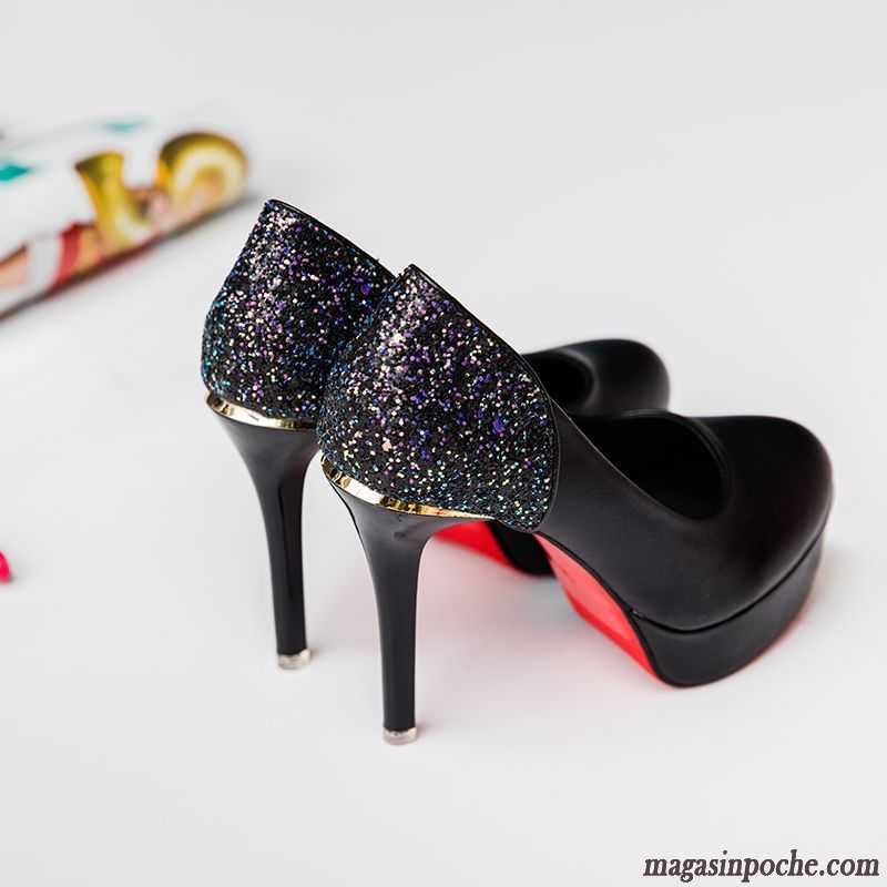 e8281f1f598fb Escarpins Originales Femme L automne Bout Rond Chaussures De Mariage Femme  Paillette Talons Minces Chaussures