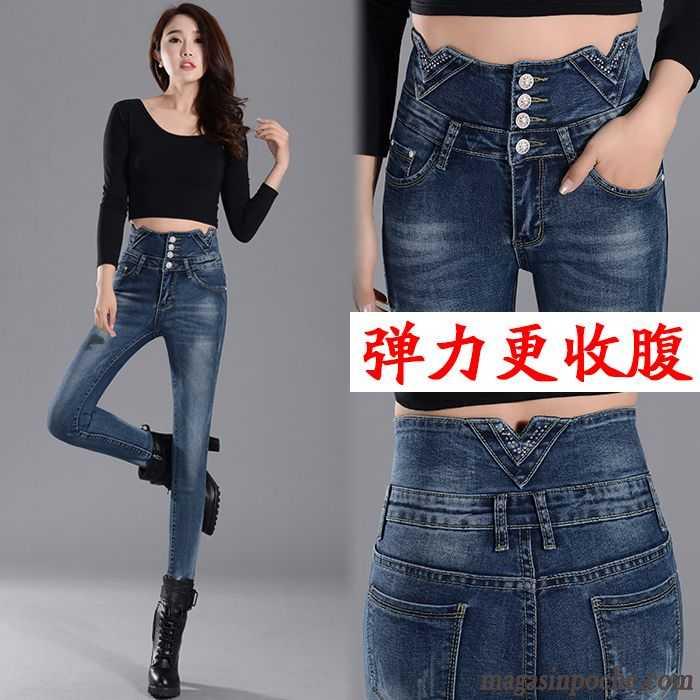 jean droit femme taille haute extensible taillissime jeans fonc maigre automne forme haute. Black Bedroom Furniture Sets. Home Design Ideas