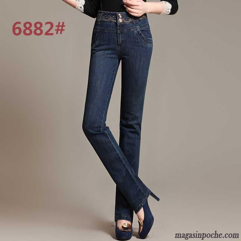 Jean Femme Taille Basse Coupe Droite Pantalon Extensible Broder Mince Jambe Droite Femme Bleu L ...