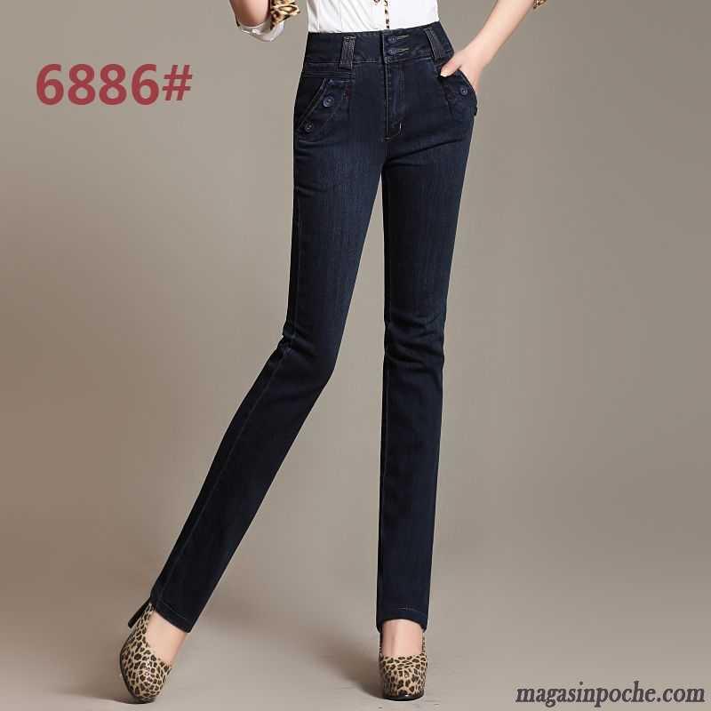 Pantalon Extensible Jean Basse Femme Coupe Droite Taille Broder wxX4fgqP