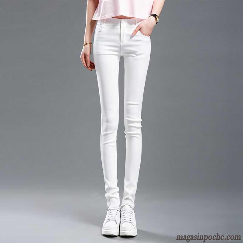 f2026c7d1717c Jean Slim Déchiré Femme Moulant Légère Blanc L'automne Tendance Leggings  Dessous Printemps Outwear Pantalon Femme Seagreen