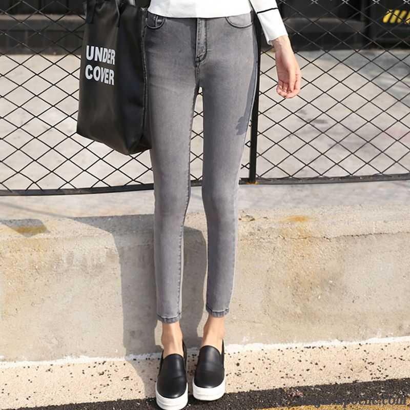 9a3adf4bf0d90 Jean Stretch Femme Taille Haute Printemps Forme Haute Cintrée Extensible  Bleu Moulant Gris Noir Neuvième Pantalon ...