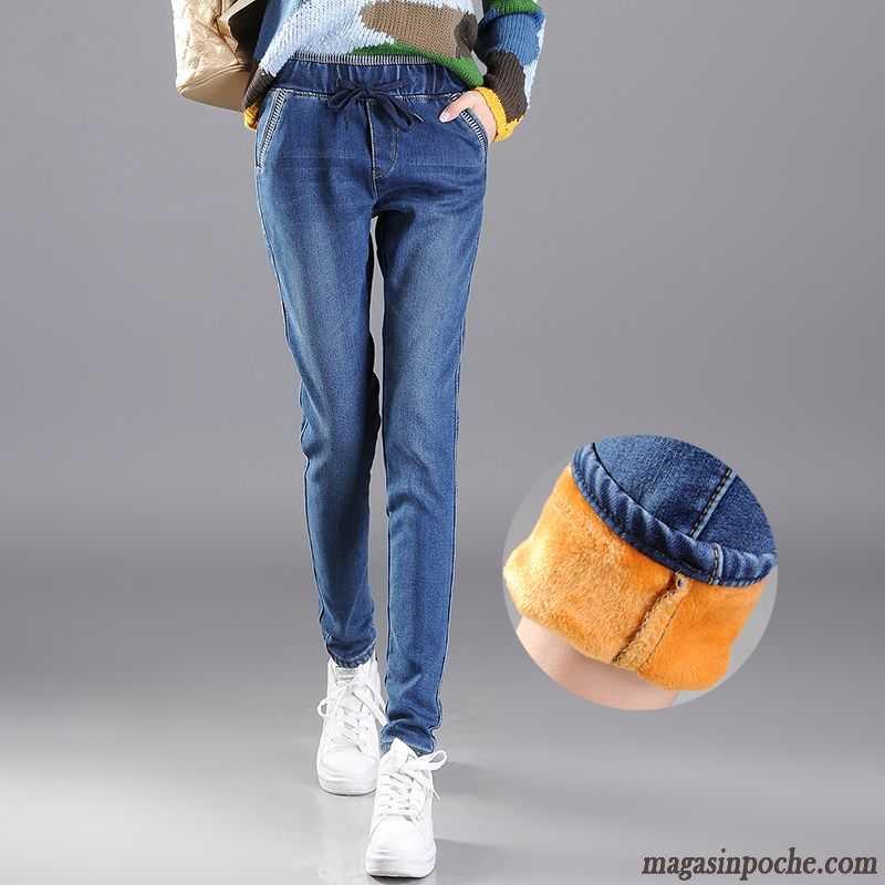 Jean Taille Haute Coupe Droite Femme Élastique Pantalon Attache Maigre Femme Taillissime Jeans ...
