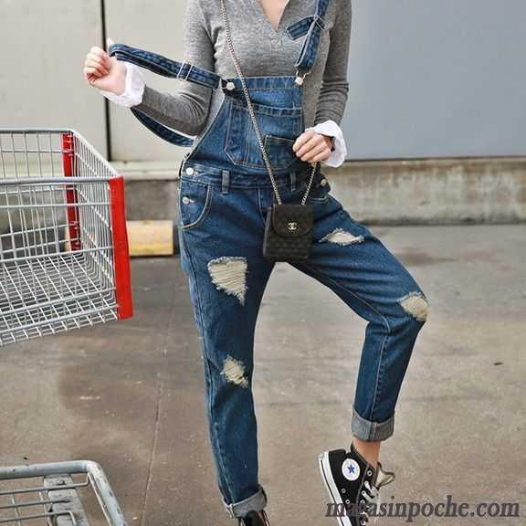 Cher Dans Pas Femme Trous Marque Mode Jeans Bretelle Des De 11raq6