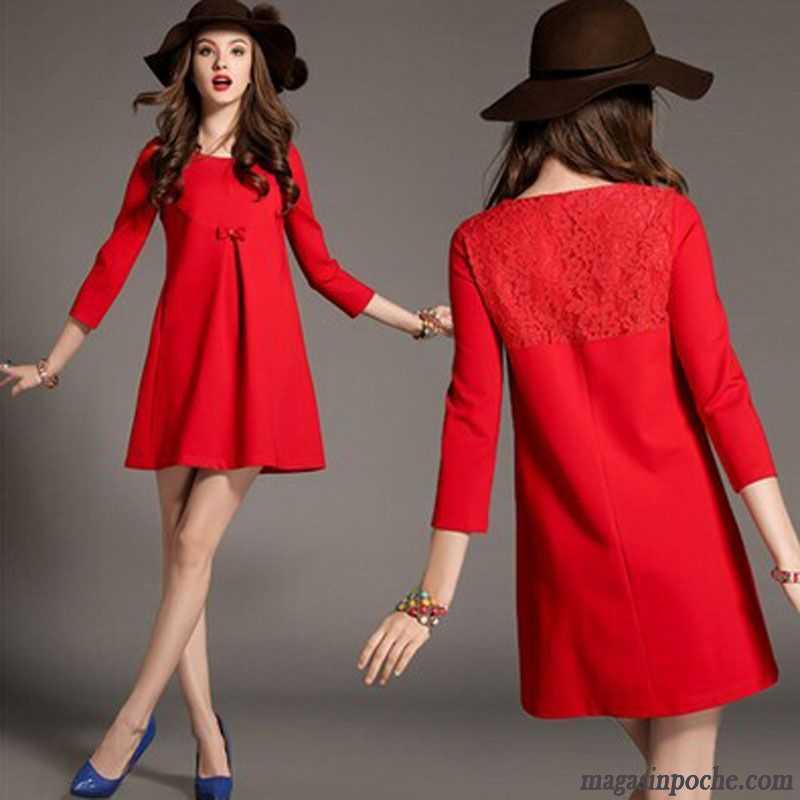 476f3d24f40 Jupe Longue Hiver Pas Cher L automne Rouge Taillissime Robe Tempérament  Femme Épissure Dentelle Gros Pure Enceintes Jaune Vert