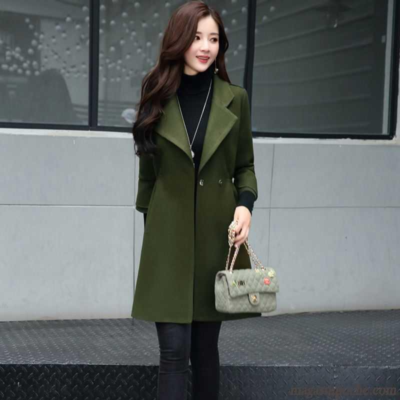 manteau femme de laine tendance hiver slim pardessus longue rouge