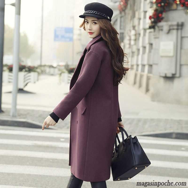 manteau femme hiver original longue femme renforc automne pardessus de laine noir. Black Bedroom Furniture Sets. Home Design Ideas