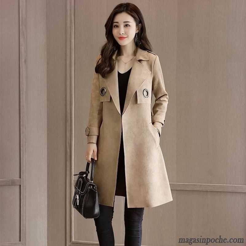 manteau femme hiver veste longue tendance coupe vent cuir su de printemps automne noir pas cher. Black Bedroom Furniture Sets. Home Design Ideas