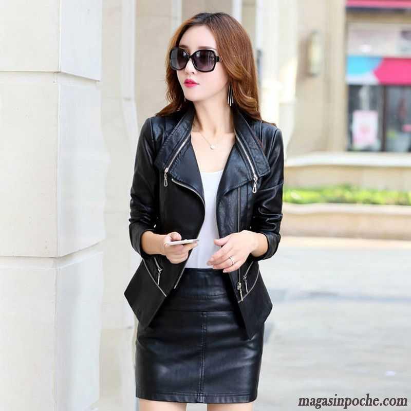 manteau femme noir cintr cuir multicolore peau de mouton. Black Bedroom Furniture Sets. Home Design Ideas