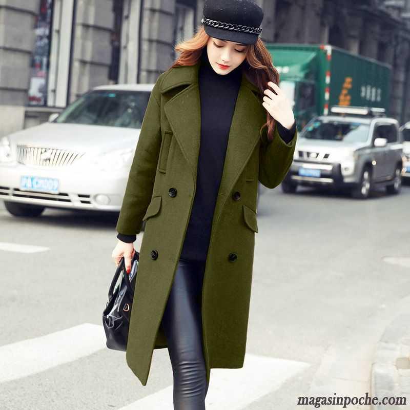 dc265f5fc1ad Manteau Pour Femme Hiver Pardessus De Laine Automne Hiver Renforcé Longue  Gris Pas Cher
