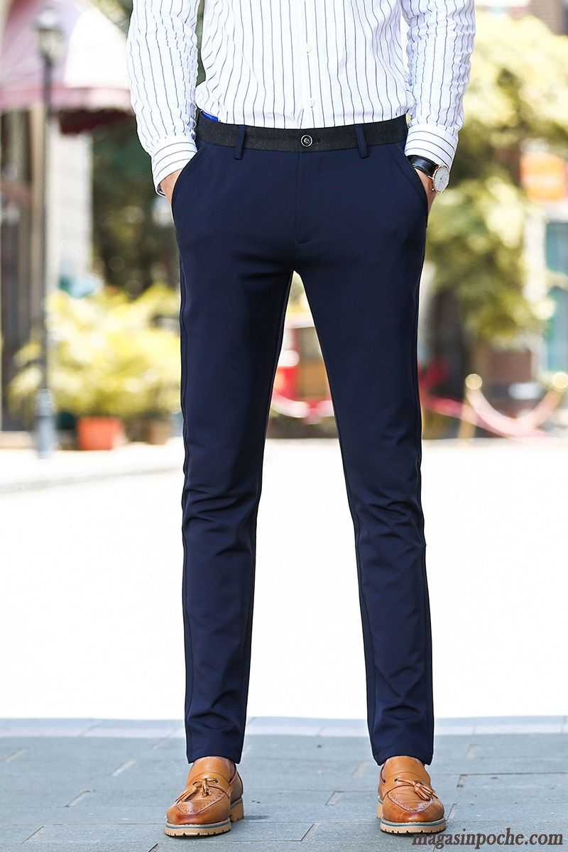 Pantalon En Toile Pour Homme Pantalon Slim Maigre Homme Pantalons  Décontractés Extensible Automne Vert Jaunâtre Pas Cher 6ce5356e464f
