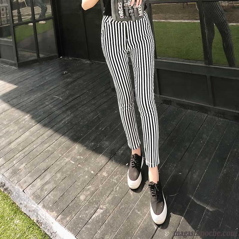 9bfdd9462ee Pantalon Noir Taille Haute Noir Mince Slim Rayé Été Tendance Maigre  Pantalons Décontractés Femme Blanc Lawngreen Pas Cher