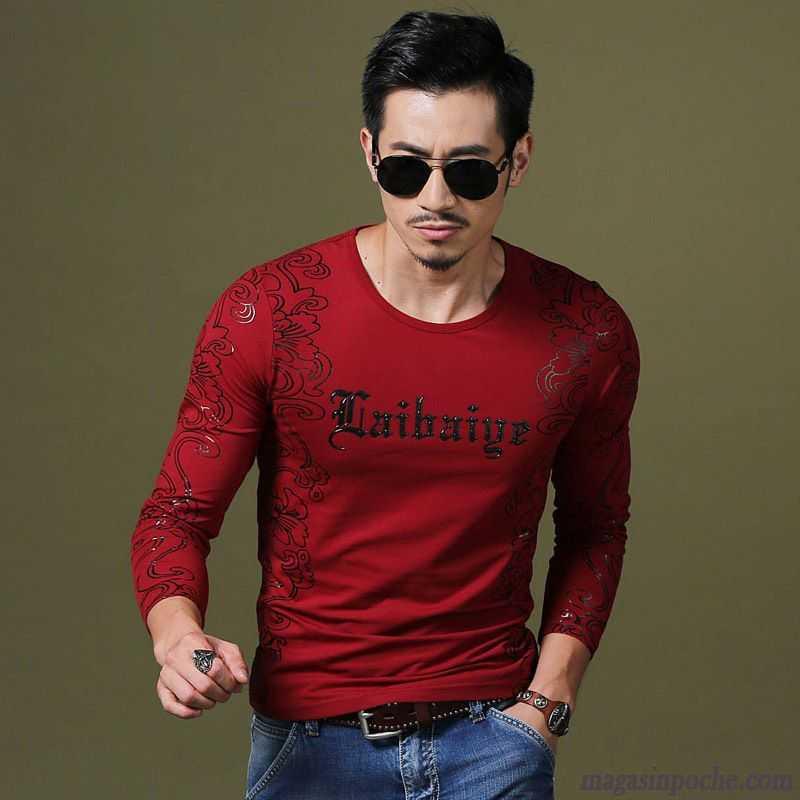 t shirt bordeaux homme homme chemise en bas manches longues mode style chinois tous les assortis. Black Bedroom Furniture Sets. Home Design Ideas
