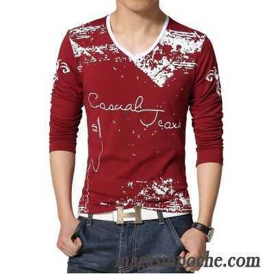 7c16a716d219 Tee Shirt Pas Cher De Marque Printemps Col En V Taillissime Matelassé Manches  Longues Homme Impression ...