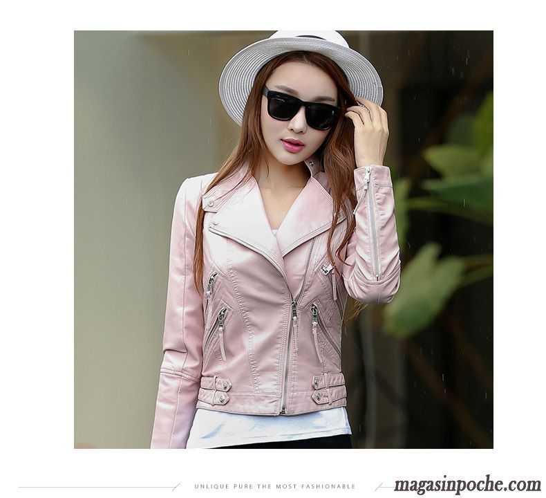 veste blazer blanche tendance blouson court l 39 automne et l 39 hiver veste cuir pardessus slim femme. Black Bedroom Furniture Sets. Home Design Ideas