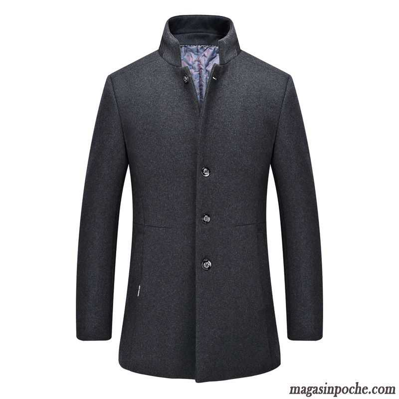 veste marque homme homme la laine col mandarin coupe vent matelass mode manteau hiver chauds. Black Bedroom Furniture Sets. Home Design Ideas