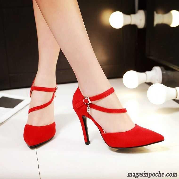 Escarpin Pointue Escarpins Princesse Mariage Brun Talon Minces Chaussures Rouge Cher Petit Femme Printemps Pas Talons Pointe De Fête 34AjLR5