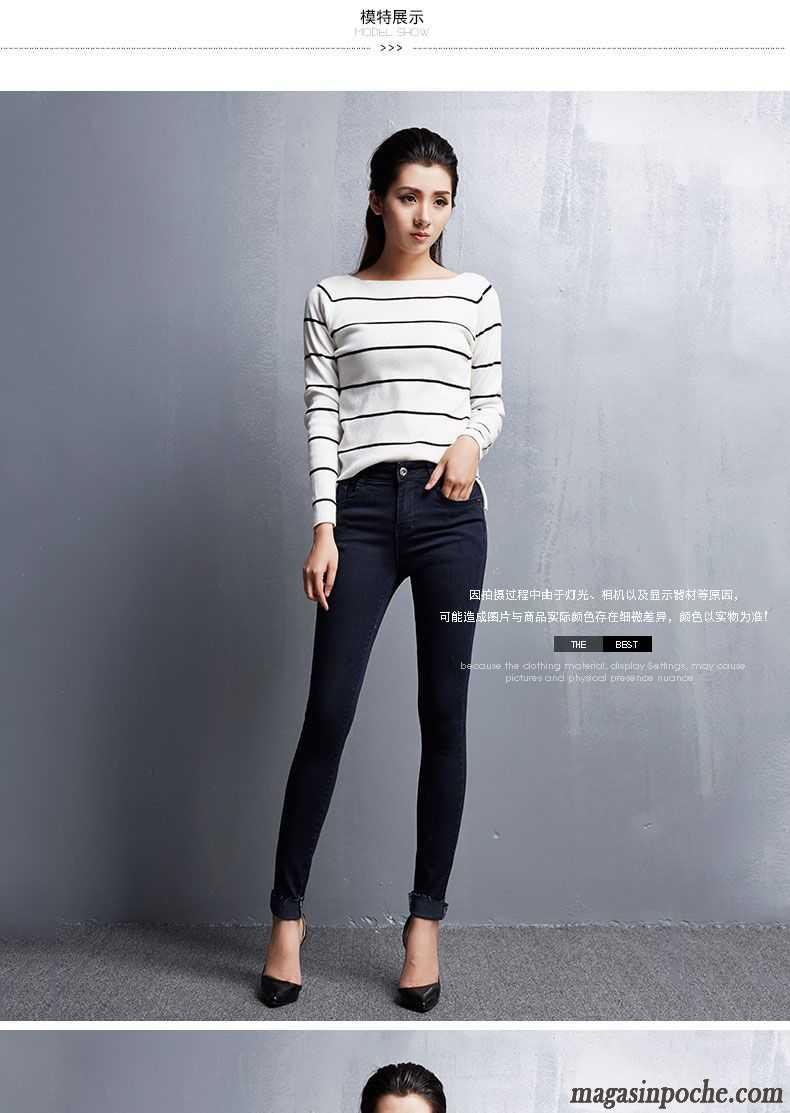 Jean Femme Taille Basse Coupe Droite Bleu Pantalon Pantalons Crayon Jeans Extensible Slim Mince ...