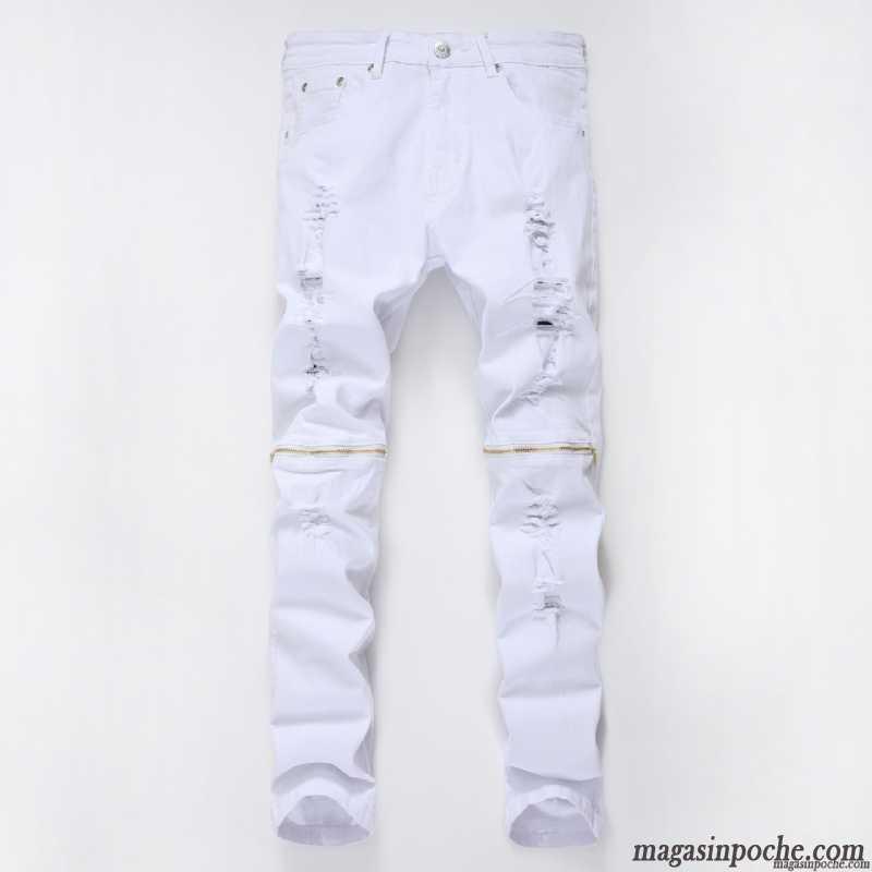 jean slim pas cher homme pantalon jeans d contract e la fermeture clair homme matelass blanc. Black Bedroom Furniture Sets. Home Design Ideas