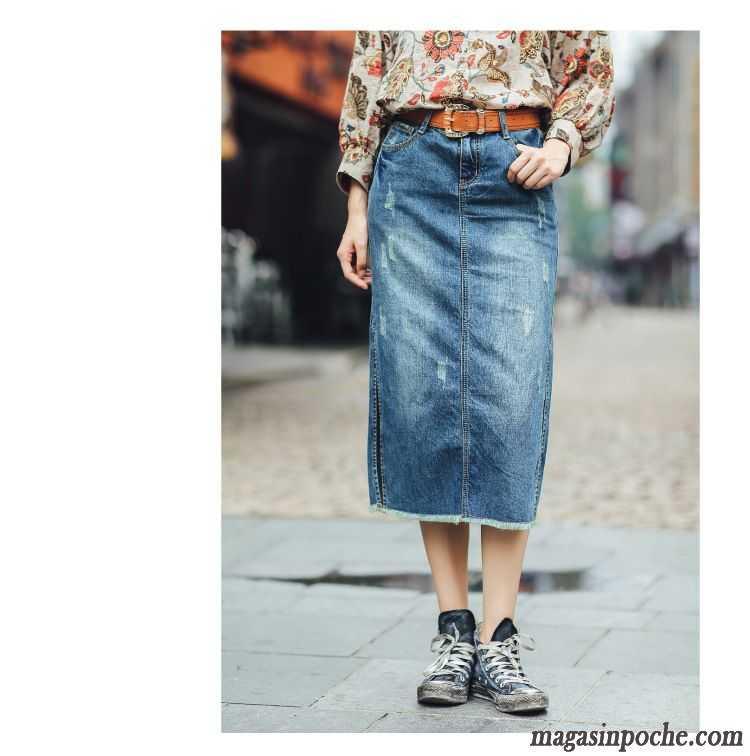 jupe longue en jean pas cher mode mince tendance tous les assortis femme l 39 automne forme haute. Black Bedroom Furniture Sets. Home Design Ideas