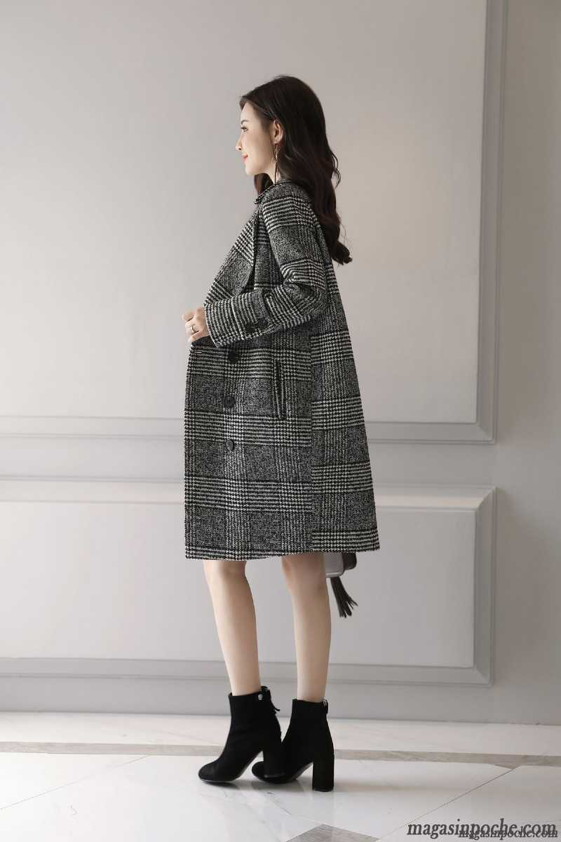 Manteau Femme Coupe Vent Slim Automne Longue Printemps De Laine Carreaux Gris Vente