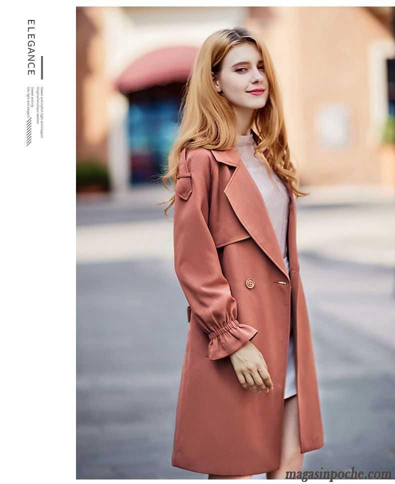 Manteau Femme Longue Coupe Vent Baggy Automne Blazer Décontractée Une Veste Rouge