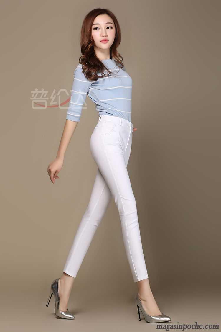new photos really comfortable discount Pantalon Taille Haute Slim Femme Pantalons Crayon Légère L'automne  Printemps Maigre Mince Femme Blanc Slim Pantalon Neuvième Pantalon  Décontractée ...
