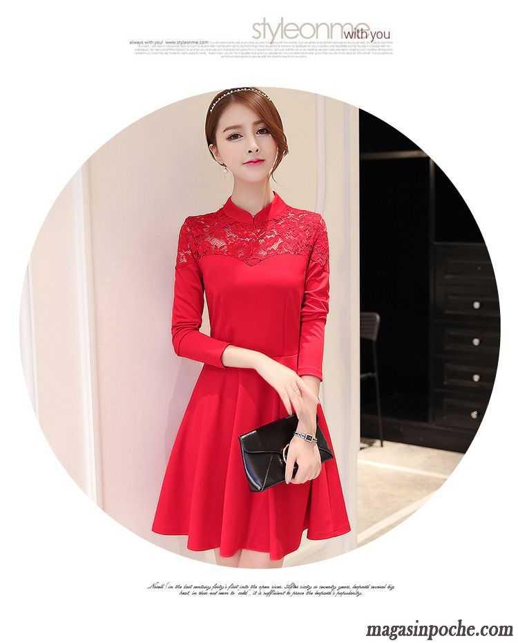d28e3a623b3 Robe Fluide Femme Slim Robe Chinoise L automne Dentelle Mode Gris Fumé