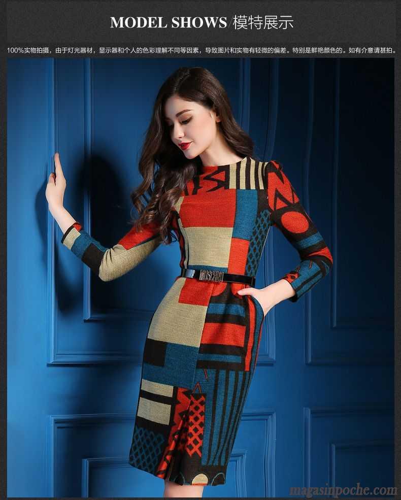 285a64c81b1 Robe Rouge Femme Tempérament Grande Marque Impression Mode L automne ...