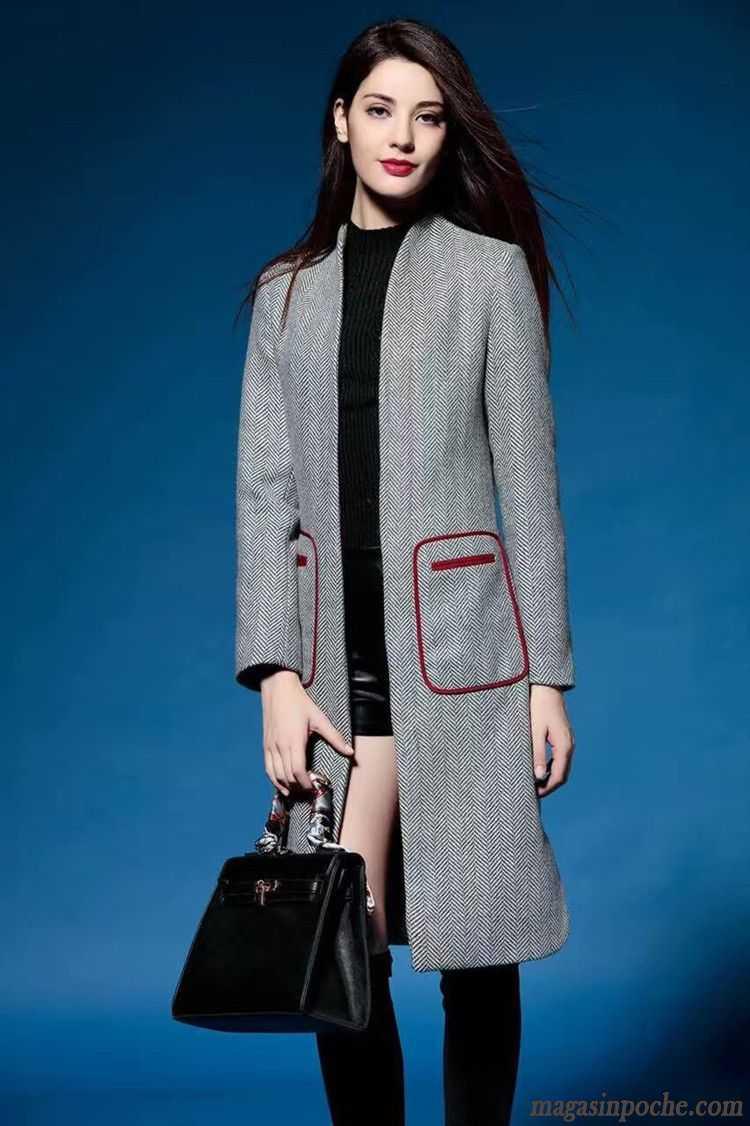 veste en cuir noir femme pardessus mince de laine l 39 automne et l 39 hiver femme slim pure longue. Black Bedroom Furniture Sets. Home Design Ideas