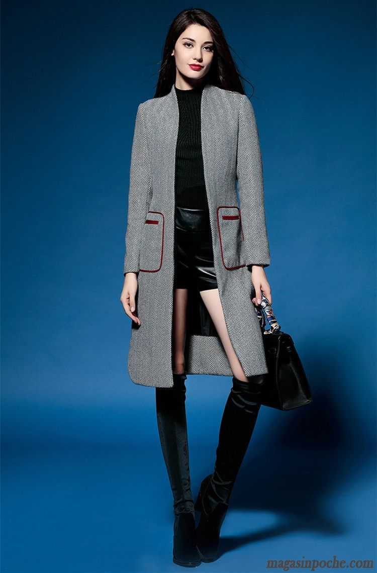 veste en cuir noir femme pardessus mince de laine l. Black Bedroom Furniture Sets. Home Design Ideas