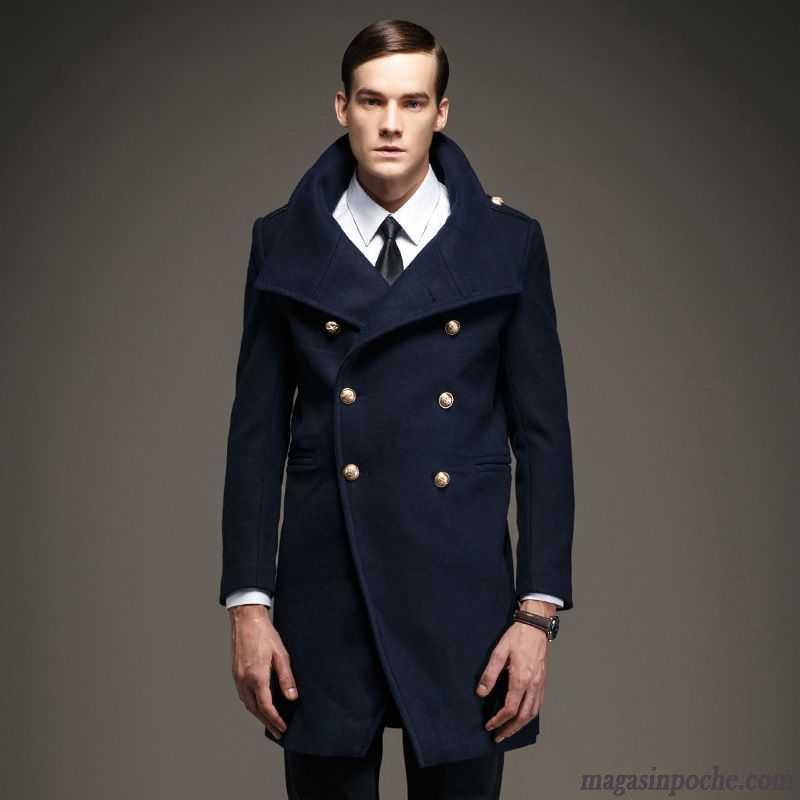 Blouson Cuir Homme Bleu Manteau La Laine Longue Slim Homme Pardessus De Laine  Col Mandarin L automne Et ... 25a4197383d