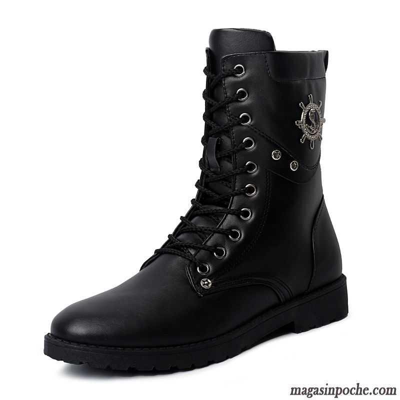 Boots Homme Cuir Noir Été Tendance Homme Hautes Pérou