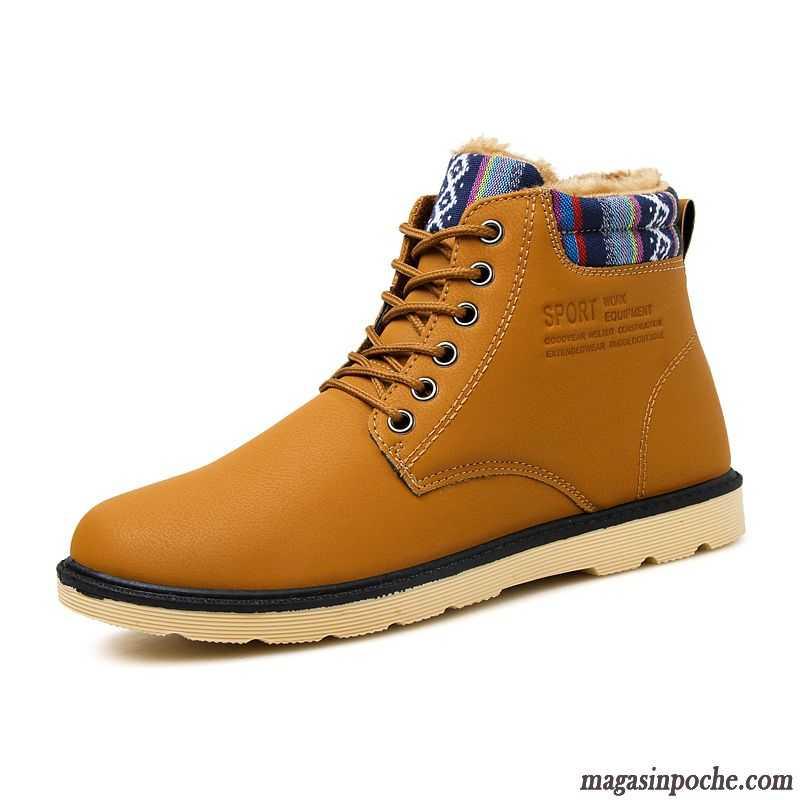 Bottes Montante Cuir Homme Chaussures En Coton Casual Thermiques Plus De Velours Imperméable Hiver Vin Rouge Soldes