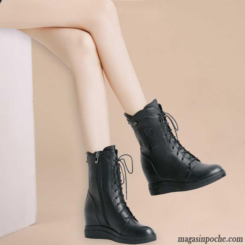 d3385823ee99c Bottines Marron Femme Cuir Talons Compensés Hiver Augmenté Cuir Véritable  Noir Femme Chaussures En Coton Plus ...