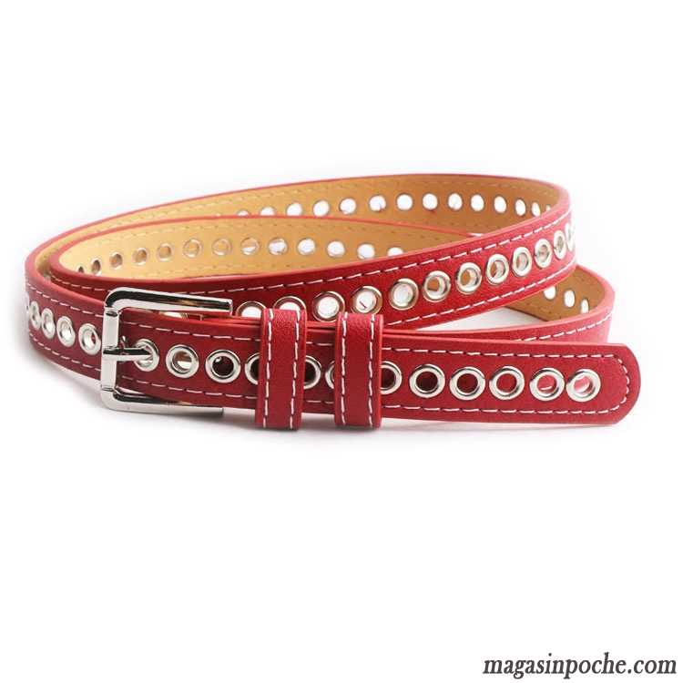 Ceinture Femme Mode Bien Décoration Simple All-match Allongé Rouge