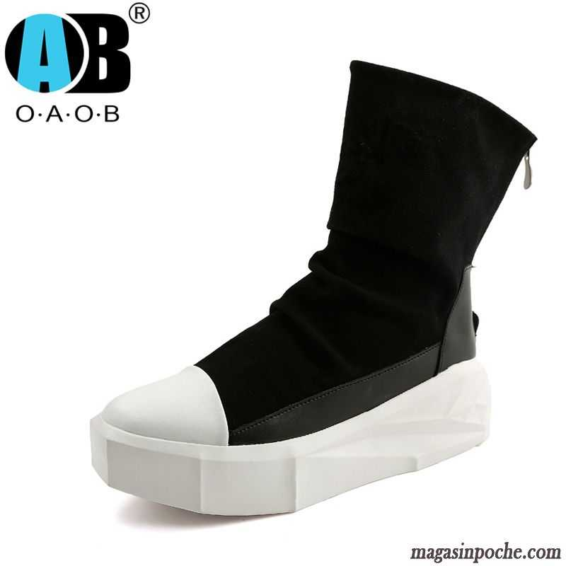 Chaussure Homme Bottine Augmenté Hautes Semelle Épaisse Tendance Homme Rétro Angleterre Casual Chaussures En Cuir Darkviolet