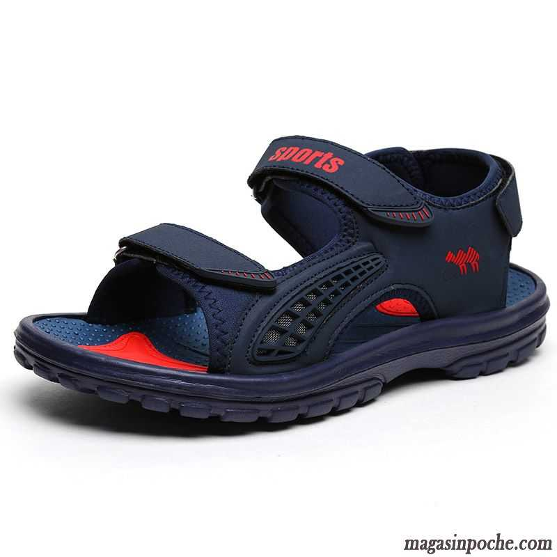 Chaussure Homme Sandales Cuir De Plein Air Respirant Sandales Homme Casual  Été Marque Plage Mauve 514c1154258