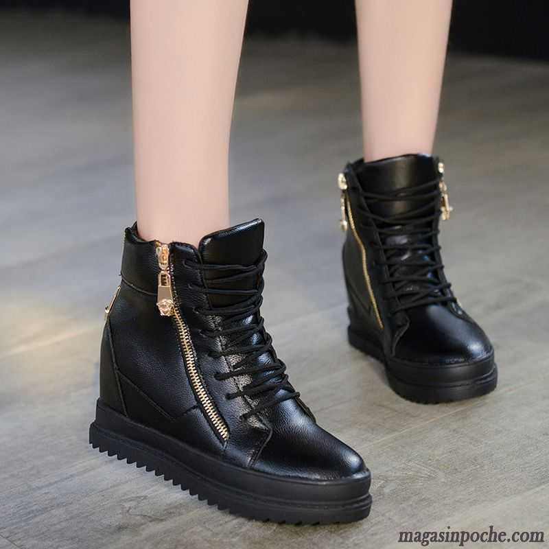 71e97402b192e Chaussures Femmes Marques Fermeture Éclair Femme Talons Compensés Augmenté  Casual Plates Mode L automne Bordeaux Soldes
